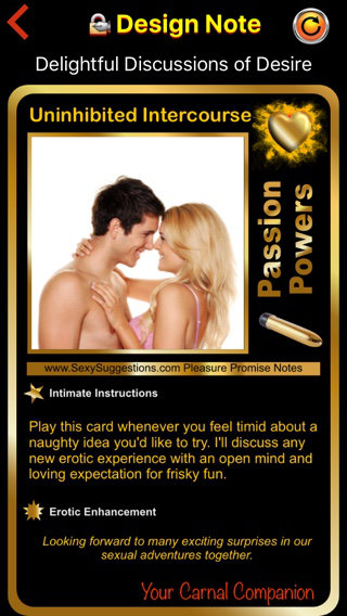 Sample Passion Powers Sex Card